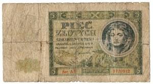 Generalne gubernatorstwo, 5 złotych 1941 AD RZADKOŚĆ ! - z nadrukiem