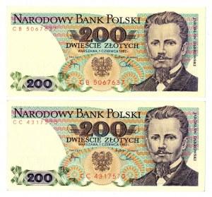 PRL, 200 złotych 1982 - zestaw 2 egzemplarze - Serie CB i CC