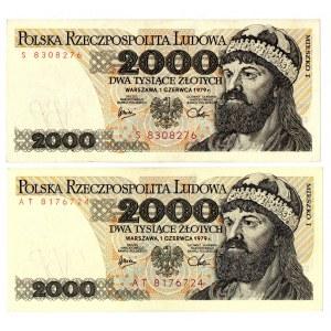 PRL, 2000 złotych 1979 - zestaw 2 egzemplarze - Serie S i AT