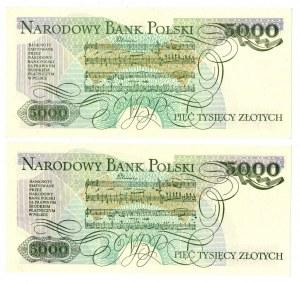 PRL, 5000 złotych 1986 - zestaw 2 egzemplarze - Serie AZ i BH
