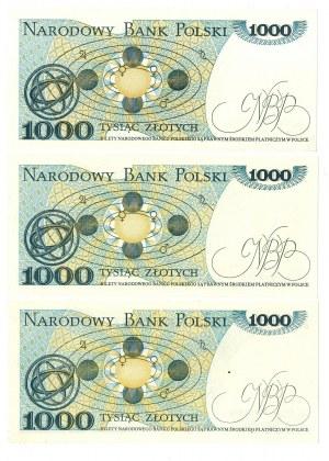PRL, 1000 złotych 1982 - zestaw 3 egzemplarze - Serie KN, KE, KD