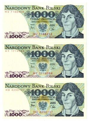 PRL, 1000 złotych 1982 - zestaw 3 egzemplarze - Serie HD, HY, HU