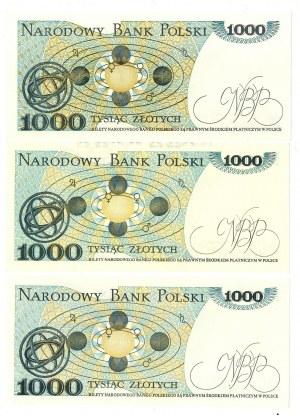 PRL, 1000 złotych 1982 - zestaw 3 egzemplarze - Serie HF, HE, HS
