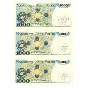 PRL, 1000 złotych 1982 - zestaw 3 egzemplarze - Serie GL, FR,FK