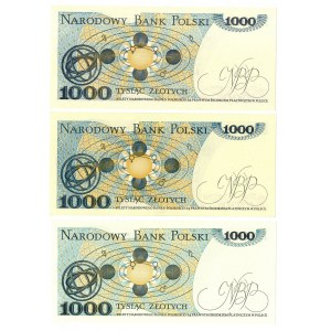 PRL, 1000 złotych 1982 - zestaw 3 egzemplarze - Serie EE, DF, HE