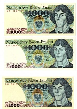 PRL, 1000 złotych 1982 - zestaw 3 egzemplarze - Serie KD, EG, GR