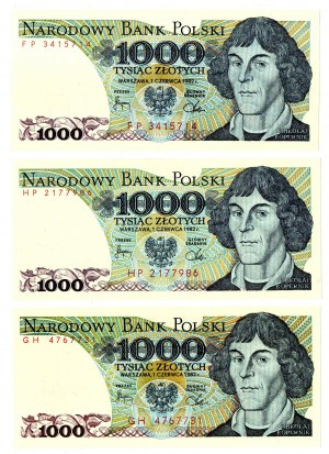 PRL, 1000 złotych 1982 - zestaw 3 egzemplarze - Serie GH, HP, FP