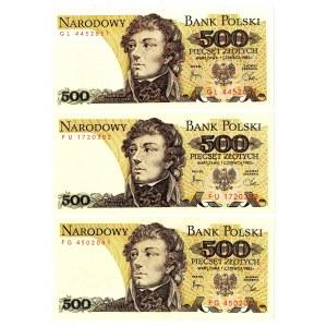 PRL, 500 złotych 1982 - zestaw 3 egzemplarze - Serie FG, GL, FU