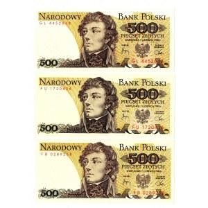 PRL, 500 złotych 1982 - zestaw 3 egzemplarze - Serie GL, FU, FB