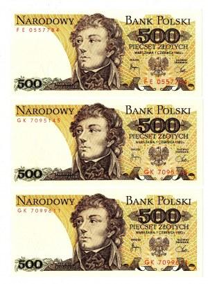 PRL, 500 złotych 1982 - zestaw 3 egzemplarze - Serie FE, GK i GK