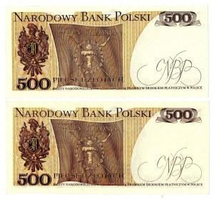 PRL, 500 złotych 1979 - zestaw 2 egzemplarze - BA i CB