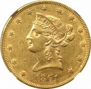 USA, 10 dolarów 1861 - NGC AU53 - Rzadkie !