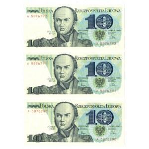 PRL, 10 złotych 1982 - 3 egzemplarze - Seria A