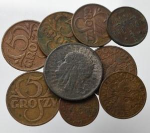 II Rzeczpospolita, zestaw monet w tym fals z epoki 2 złotych