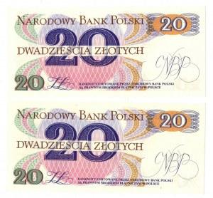 PRL, 20 złotych 1982 - zestaw 2 egzemplarze - Seria A