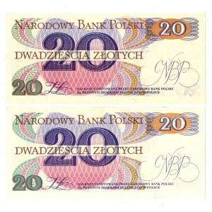 PRL, 20 złotych 1982 - zestaw 2 egzemplarze - Seria U i W