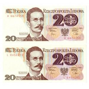 PRL, 20 złotych 1982 - zestaw 2 egzemplarze - Seria A i L