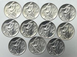 PRL, 5 złotych Rybak zestaw (11 egz)