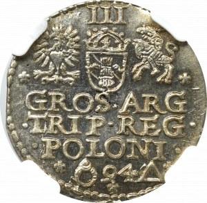 Sigismund III, 3 groschen 1594, Marienburg - NGC MS65