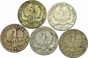 II Rzeczpospolita, Zestaw 2 złote 1936 Żaglowiec (5 egz)