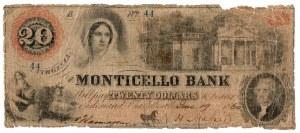USA, 20 dolarów 1860 Virginia - The Monticello Bank in Charlottensville