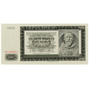 Protektorat Czech i Moraw, 1000 koron 1942 Specimen