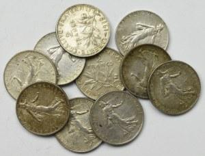 France, Lot of 2 francs 1915-19 (10 ex)