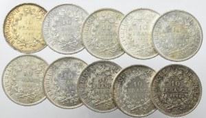 Francja, Zestaw 10 franków 1965-70 (10 egz)