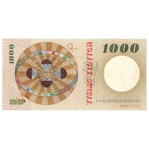 PRL, 1000 złotych 1965 - SPECIMEN / WZÓR - A 0000000