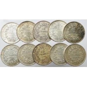Francja, Zestaw 10 franków 1965-67 (10 egz)