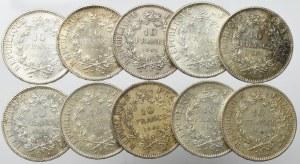 France, Lot of 10 francs 1965-67 (10 ex)