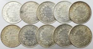 France, Lot of 10 francs 1965-71 (10 ex)