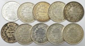 France, Lot of 10 francs 1965-70 (10 ex)