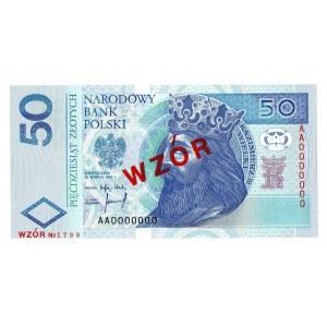 50 złotych 1994 WZÓR - AA 0000000 - Nr. 1799