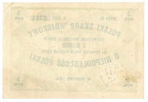 Polski Skarb Wojskowy, 5 koron 1914, na poparcie walki przeciw Rosyi