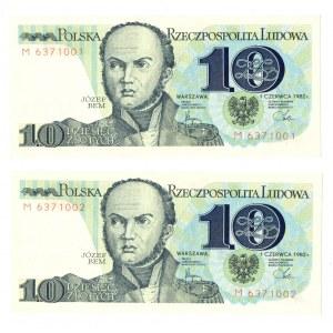 PRL, 10 i 20 złotych 1982 - zestaw 3 egzemplarze