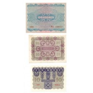 Austria, zestaw 10, 20, 100 koron 1922