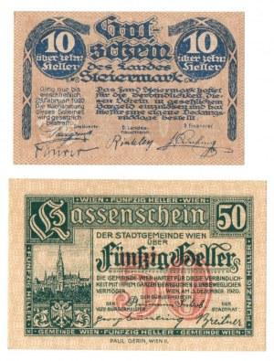 Austria, zestaw 10 i 50 Halerzy 1920
