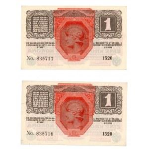 Austro-Węgry, zestaw 1 i 2 korony (4 egzemplarze)
