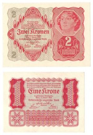 Austro-Węgry, zestaw 1 i 2 korony (2 egzemplarze)