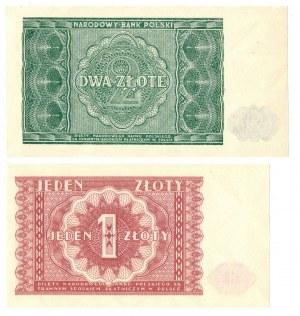PRL, zestaw 1-2 złote 1946