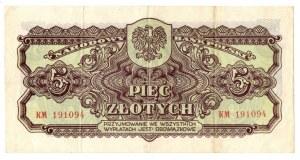 PRL, 5 złotych 1944 ..owe KM