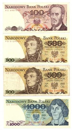 PRL, Zestaw banknotów - 9 egzemplarzy