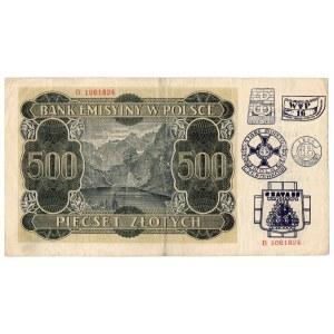 Generalne Gubernatorstwo, 500 złotych 1940 B - z nadrukiem