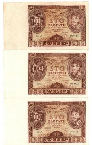II Rzeczpospolita, 100 złotych 1934 - zestaw 3 egzemplarzy
