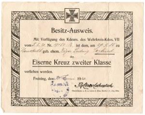 Niemcy, nadanie Krzyża Żelaznego II Klasy 1920