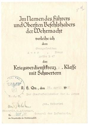 Niemcy, III Rzesza, nadanie Krzyża Zasługi Wojennej II Klasy z mieczami 1942