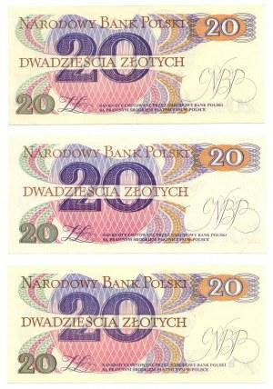 PRL, 20 złotych 1982 - zestaw 3 egzemplarze - Seria AL , AP , AK