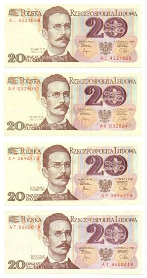 PRL, 20 złotych 1982 - zestaw 4 egzemplarze - Seria AP, AL , AK , AT