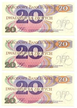 PRL, 20 złotych 1982 - zestaw 3 egzemplarze - Seria AH